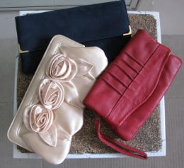Clutch bags; blue velvet, satin & red leather