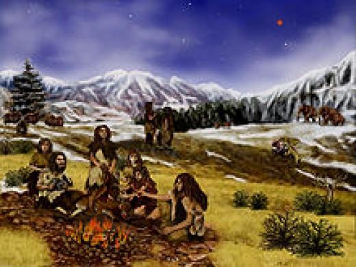Artist's rendition Neanderthals 60,000 years ago