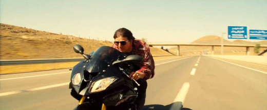 Ethan Hunt on a motorcycle, as he is in every Mission Impossible film.