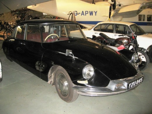 A 1960 Citroen DS19 that has been modified to be automatically controlled, photographed at the Science Museum, London.  The origins of autonomous vehicles go back to the 1920s.  There were significant leaps in associated technology in the 1950s.