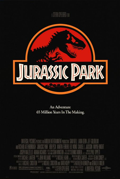 A movie poster for the Jurassic Park film.
