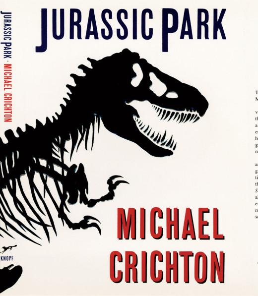 The original book cover to Jurassic Park.
