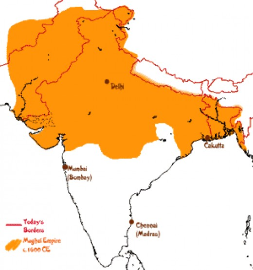 The yellow highlight indicates the land under the mughals.