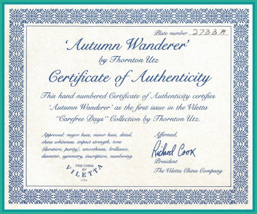 "This hand numbered Certificate of Authenticity certifies ""Autumn Wanderer"" as the first issue in the Viletta ""Carefree Days"" Collection by Thornton Utz."