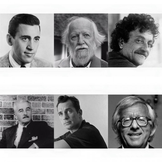 From left to right: JD Salinger, William Golding, Kurt Vonnegut, William Faulkner, Jack Kerouac, Ray Bradbury.