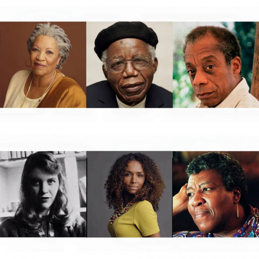 Left to right: Toni Morrison, Chinua Achebe, James Baldwin, Sylvia Plath, Janet Mock, Octavia E. Butler.