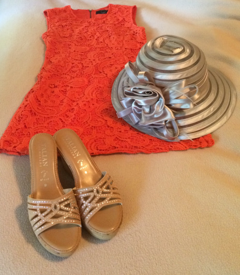 Coral dress with lace overlay from Piperlime paired with silver hat and neutral embellished wedge sandals by Italian Shoemaker ($40).