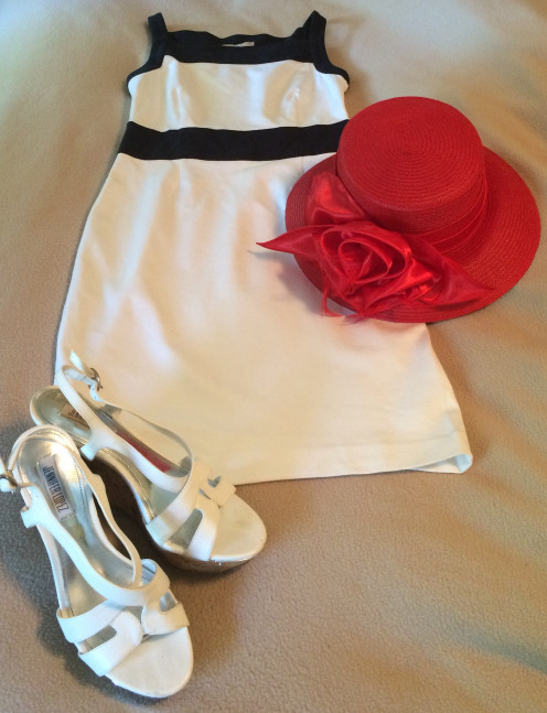 Navy and White dress from Banana Republic ($50) paired with Big Red and wedge sandals by Jennifer Lopez.