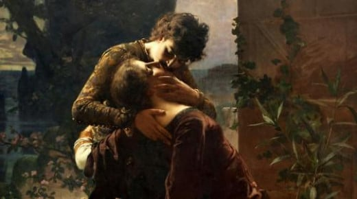 Classical painting of Romeo & Juliet kissing