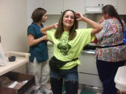 My bff is not right. Heres a pic of her at work dressed up in the 80's for nursing home week.