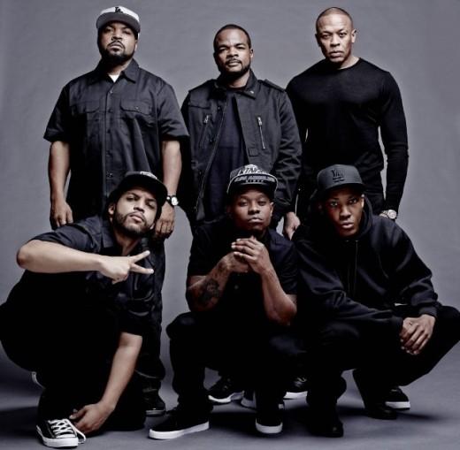 Ice Cube, Dr. Dre, F. Gary Gray, Corey Hawkins, Jason Mitchell in Straight Outta Compton.