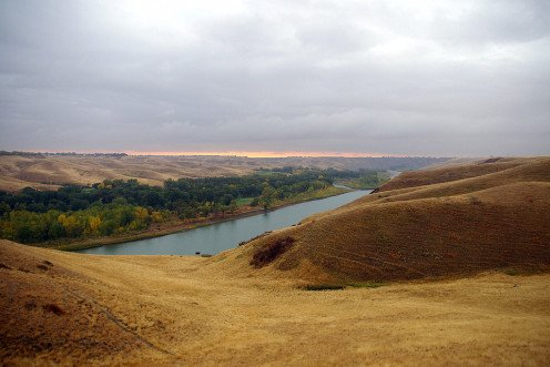 The Oldman River at sunrise, near Lethbridge