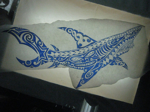 Polynesian-style tattoo design of a shark