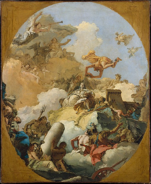 The Apotheosis of the Spanish Monarchy.  The poet thinks he saw the Tiepolo painting with the hound in New York.