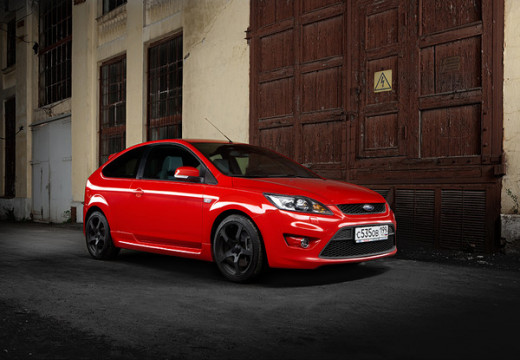 A Red Ford Focus