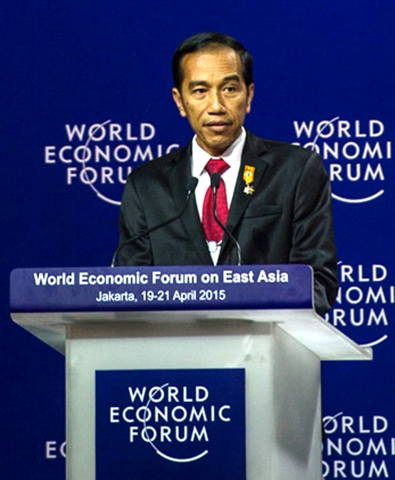President Of Indonesia, Joko Widodo, at the World Economic Forum in April 2015 held at Jakarta, Indonesia.
