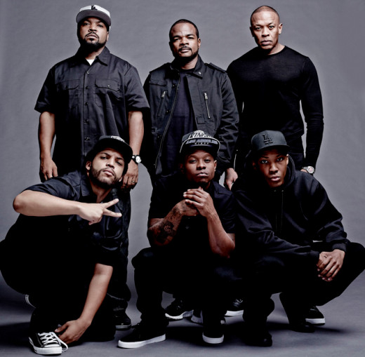"""From top to bottom: Ice Cube, """"Straight Outta Compton"""" director F. Gary Gray, Dr. Dre, O'Shea Jackson Jr. (Ice Cube), Corey Hawkins (Dr. Dre) and Jason Mitchell (Eazy-E)"""
