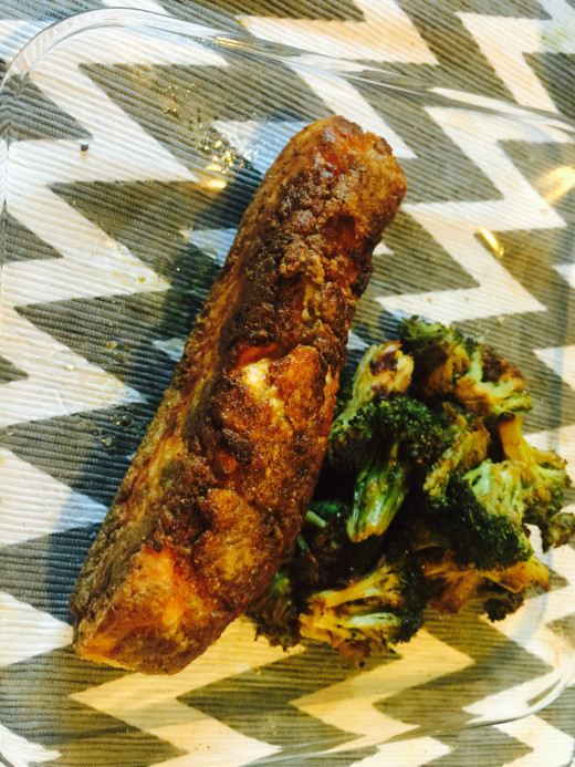 Delicious pan fried salmon with oven roasted broccoli