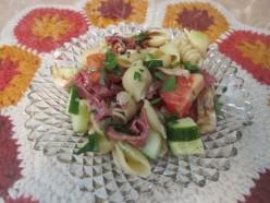 Pasta Salad With Pastrami, Mushrooms and Cucumbers