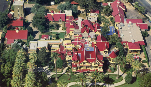 View Of Winchester Mystery House From The Air