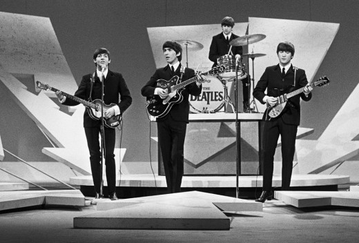 The Beatles performing on the Ed Sullivan Show, February 9, 1964.
