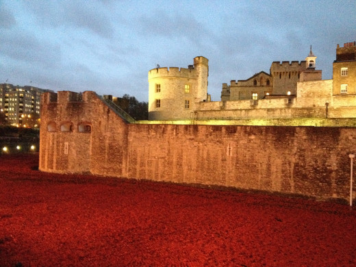 This photo was taken November 2014. In honour of Remembrance Day, the moat surrounding the wall was filled with thousands of ceramic poppies..