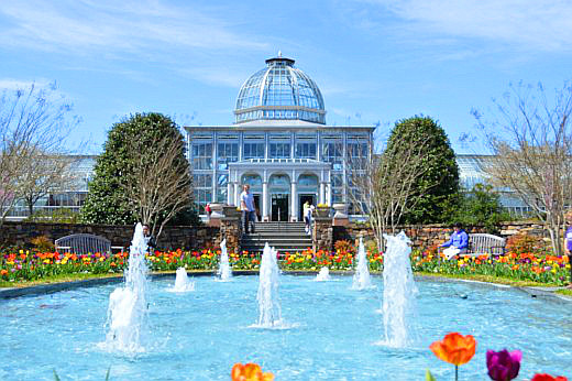 Fountains and flowers frame the Lewis Ginter conservatory. © Scott Bateman