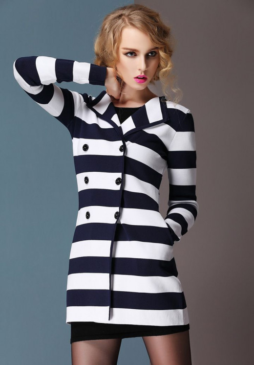 Striped peacoat