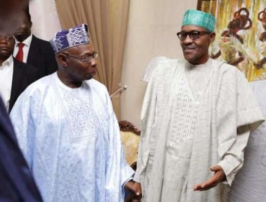 Fmr. President Obasanjo and Current President Muhammadu Buhari