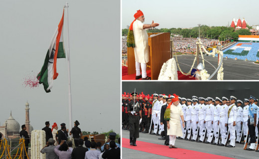 PM Narendra Modi hoisting flag at Red Fort Delhi on 68th Independence Day