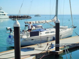 Seventh Heaven and Captain at Costa Baja Marina dock, on our way to the islands...