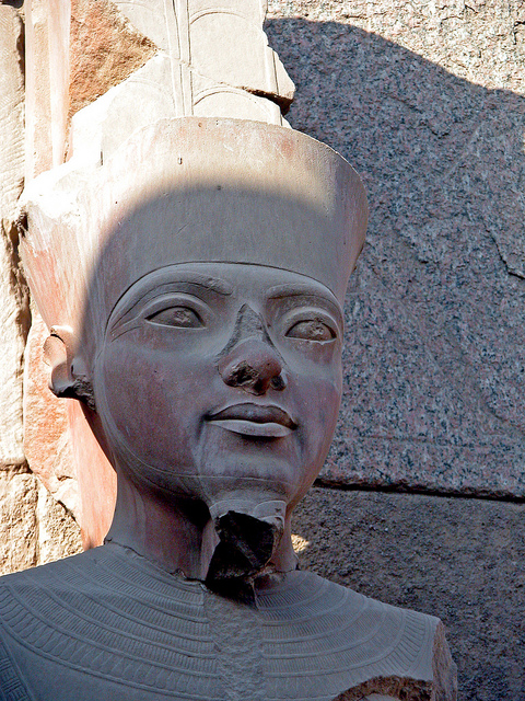 Tutankhamun statue located at the, Karnak Temple, Luxor, Egypt.