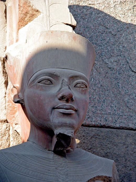 Tutankhamun statue located at the, Karnak Temple, Luxor, Egypt.