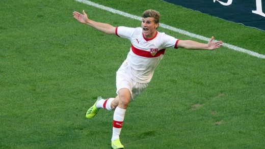 Werner celebrating a goal for his childhood club VfB Stuttgart