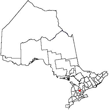 Map location of Orangeville, Ontario
