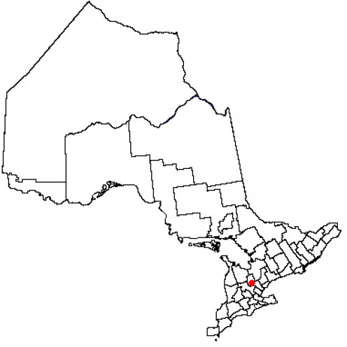 Map location of Orangeville, Ontario
