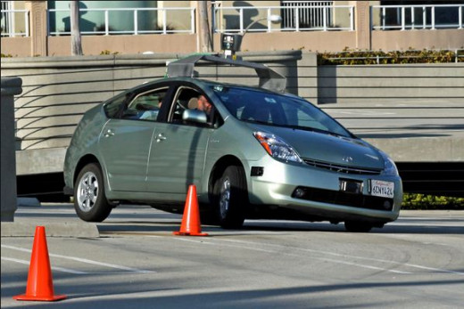 A Toyota Prius modified by Google operating as a driverless car.