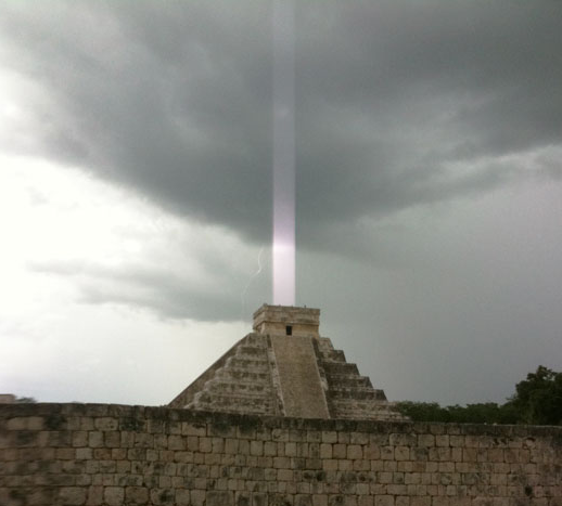 Light in Mayan Temple Pyramid-  BEACON for Landing Craft?