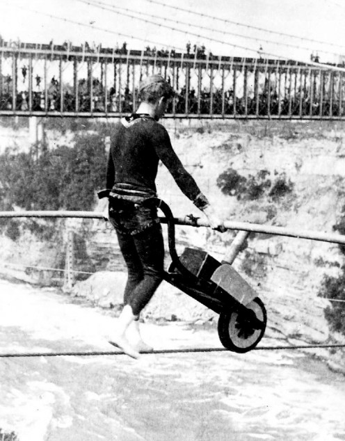Tightrope Walker Ean Francois Gravelet Pushing Wheelbarrow Over Niagara Falls in 1859