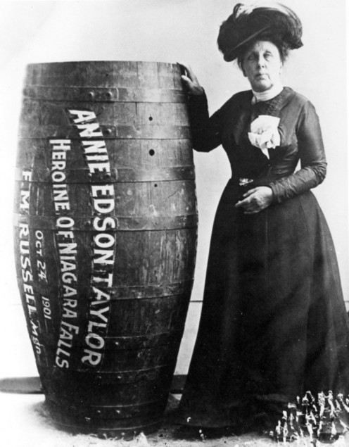 Annie Taylor First Person To Survive Going Over Niagara Falls In A Wooden Barrel.