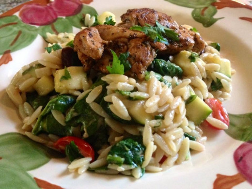 Chicken Thighs with Mediterranean Orzo
