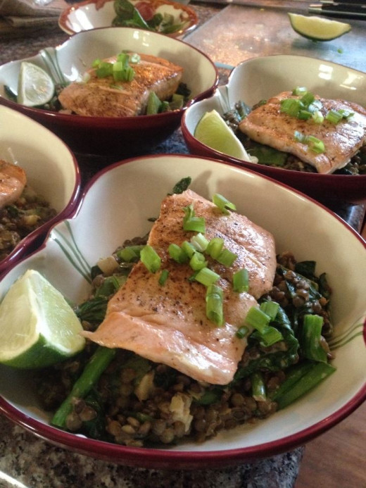 Thai Spiced Salmon with Lentils