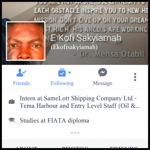 "This is Mr. Kofi Sakyiamah's Profile that he used to contact me. He is the ""owner"" of SBOG Ventures which recruits Freelance Writers."