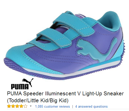 Puma Glow in the dark velcro sneakers for kids.