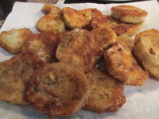 Breaded and fried eggplant rounds.