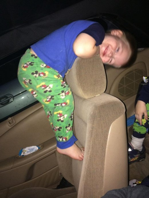Yes, my kids are wearing pajamas in a vehicle.  Yes, they are climbing all over the seats.  No, the vehicle is not running.