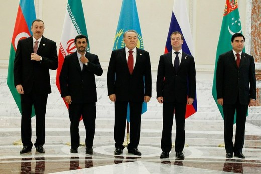 English: Heads of state – participants in the third Caspian Summit. They are (left to right) President of Azerbaijan Ilham Aliyev, President of Iran Mahmoud Ahmedinejad, President of Kazakhstan Nursultan Nazarbayev, President of Russia Dmitry Medvede