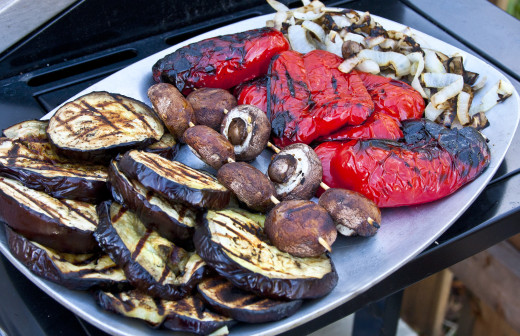 A platter of grilled or barbecued vegetables is a wonderful addition to grilled or roasted beef or other meat.