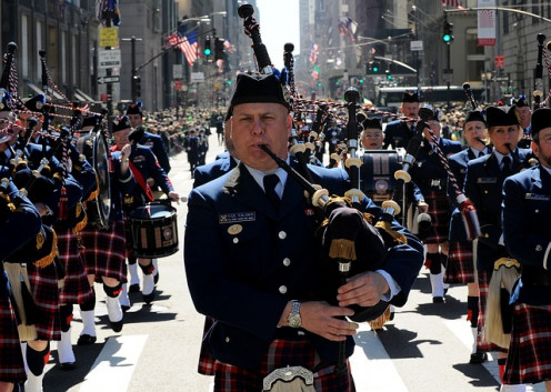 NYC Irish Pipers on St, Patrick's Day.