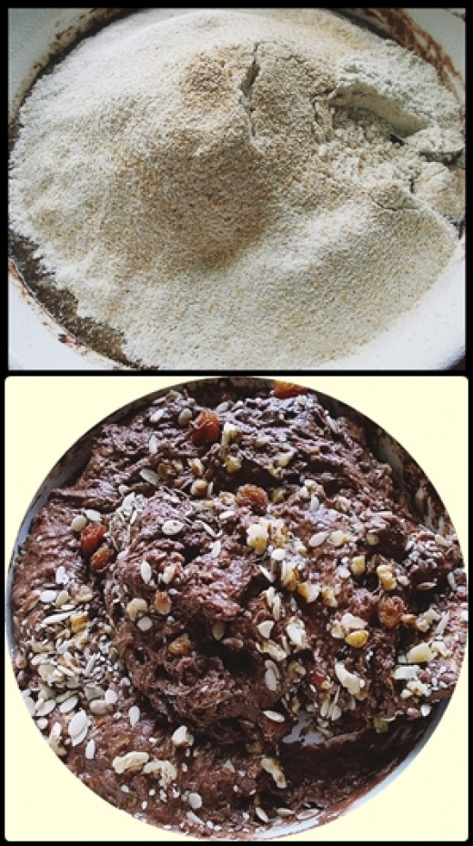 1st pic-wet mixture with sieved flour 2nd pic-cake mixture with walnuts, raisins, & various seeds